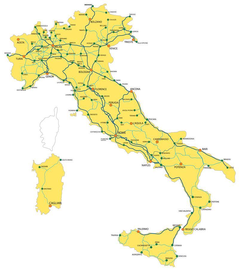 Vlak Zemljevid Severna Italija Severna Italija Zelezniskega